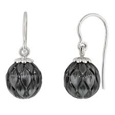 black dangle earrings galatea black south sea pearl drop earrings in 14kt white gold
