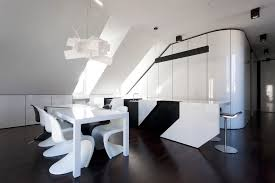 modern black and white dining room with funky pendant light