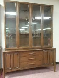 Hutch Buffet by Vtg 60s 2 Pc Danish Modern Walnut China Cabinet Hutch Buffet