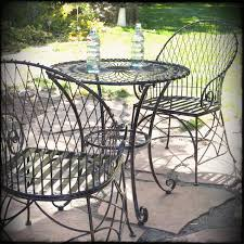 piece black metal patio furniture bistro set with round table