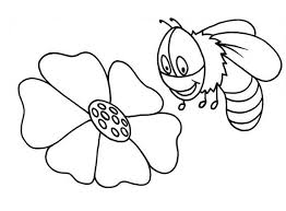 a bumblebee checking the flower for honey coloring page download