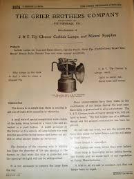 carbide cap lamps grier bros ad i in 1923 mining catalogue coal