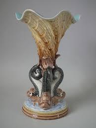 Dolphin Vase Gustafsberg Majolica Dolphin U0026 Cornucopia Vase