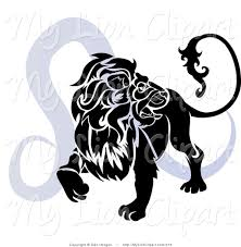 clipart of silhouetted leo the lion over blue astrological zodiac