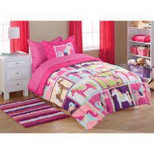 Girls Horse Themed Bedding by Mainstays Kids U0027 Coordinated Bed In A Bag Pink Horsey Walmart Com
