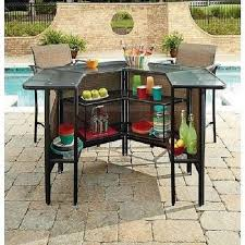 5 Piece Patio Bar Set Table Chairs Outdoor Bartender Deck Furniture