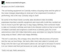 singing birthday text why the curiosity rover singing itself happy birthday isn t sad