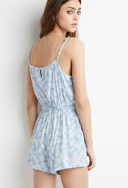 forever 21 paisley print cami romper in blue lyst