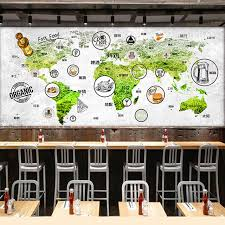 Ent Mural Cuisine Custom Wall Mural Map Mural Restaurant Tea House Coffee Shop