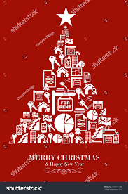 real estate icon set christmas tree stock vector 120016108