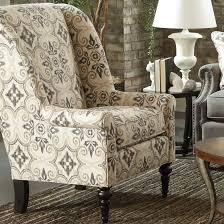 Fabric Living Room Chairs Funiture Traditional Printed Fabric Wingback Accent Chair Front