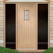 Exterior Door And Frame Sets Cottage Oak Exterior Door With Black Leadwork Bevelled Tri Glazing