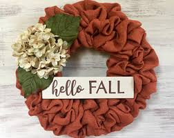 fall burlap wreath etsy
