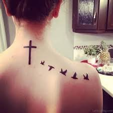 cross tattoo with birds on neck 15 most attractive neck tattoos
