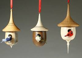 a wood turned mini birdhouse ornaments wood turning