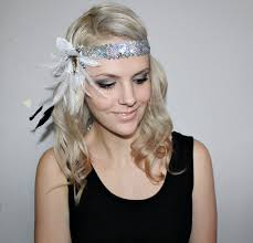 1920s headband 1920s white and silver feather flapper headband races no 1 on luulla
