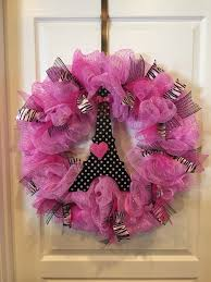 paris themed pink deco mesh wreath with pink and zebra ribbon