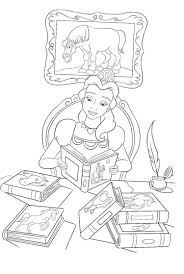 princess belle reading book coloring pages coloring page