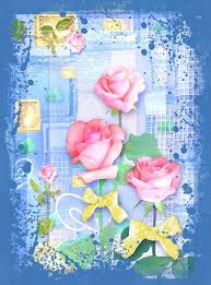 blue collage postcard flower beautiful illustration with roses