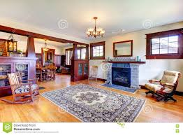 beautiful old craftsman style home living room interior stock