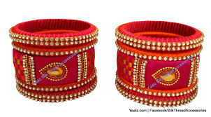 yaalz checker bangles set in orange rani pink and gold color s