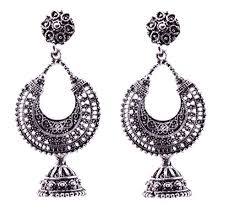 metal earings the trendy trendz oxidised silver metal german silver jhumki