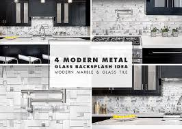 modern white glass metal backsplash espresso kitchen cabinet