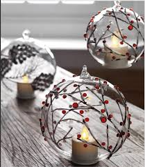 5 inch berry branch blown ornament moving light tealight