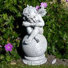 cherub on a garden ornament