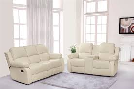 Leather Reclining Sofa With Console by Vancouver 3 2 Bonded Leather Recliner Sofa Suite With Drinks