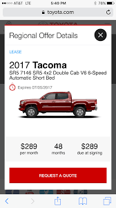 leased 2017 toyota tacoma 320 a month share deals u0026 tips