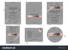 Invitation Card With Rsvp Wedding Invitation Card Rose Gold Gray Stock Vector 635856704