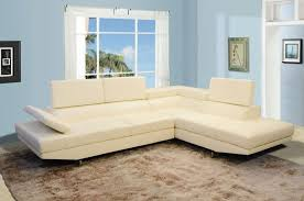 Modern White Bonded Leather Sectional Sofa Beverly Ivory White Bonded Leather Modern Contemporary Sectional