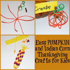 easy pumpkin and indian corn thanksgiving crafts for kids wikki stix