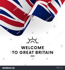 Great Britain Flag Welcome Great Britain Great Britain Flag Stock Vektorgrafik