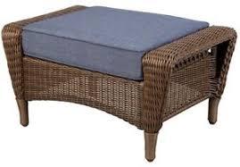 Cushion Ottoman Outdoor Wicker Brown Ottoman Light Blue Cushion Patio Pool Porch