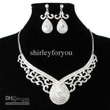 swarovski diamond necklace images Silver white wedding jewelry set nj 004 with swarovski jpg