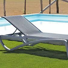 chaise longue ext rieur chaise longue piscine alizé grise bain soleil transat