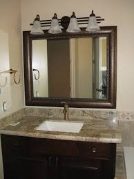 Unique Bathroom Mirror Frame Ideas Wooden Mirror Frame Ideas With Beige Marble Countertop Using
