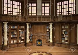 3d digital render of an antique library with lots of books and