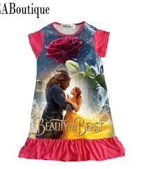 eaboutique cotton fabric girls dress cartoon princess moana trolls
