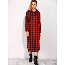 long sleeve button down plaid midi flannel shirt dress red l in
