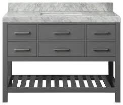 Elizabeth Bath Vanity Set Carrara Marble Top Transitional - Bathroom vanity tables