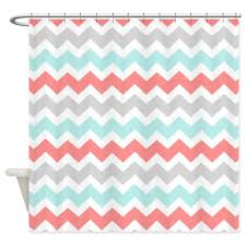 Gray And White Chevron Curtains by Amazon Com Cafepress Coral Aqua Grey White Chevron Shower