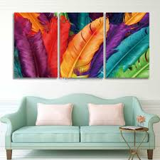 posters for home decor 2018 canvas wall art prints 3 panel painting colorful feathers