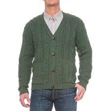 peregrine by j g glover aran v neck cardigan sweater for men