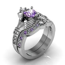 claddagh wedding ring sets claddagh ring amethyst sterling silver and friendship