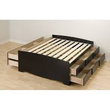 wood bed frame with drawers black tall full 12 drawer captain s platform storage bed free