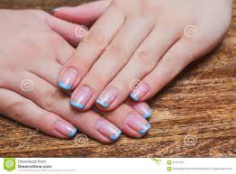 french nail art in light blue color stock photo image 67271532