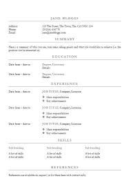 Resume Templates In Ms Word